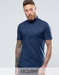 Only And Sons Skinny Smart Short Sleeve Shirt Navy