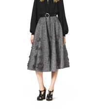 Michael Kors Embroidered Herringbone Wool Skirt Charcoal