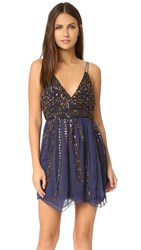 Free People Cassiopeia Embellished Mini Party Dress Navy
