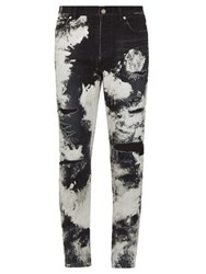 Saint Laurent Distressed Five Pocket Skinny Jeans Black Multi