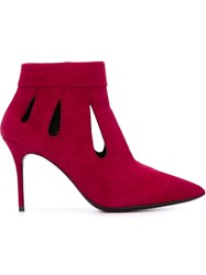 Giuseppe Zanotti Design Cut Out Detail Booties Pink And Purple