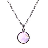 Puck Wanderlust Silver February Birthday Charm Necklace Amethyst Silver Pink Purple