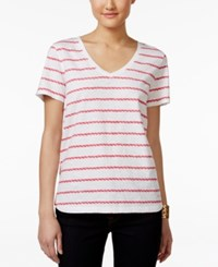 Tommy Hilfiger Striped T Shirt Bright White Diva Pink