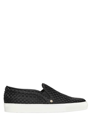Louis Leeman Woven Silk Satin Slip On Sneakers Black White