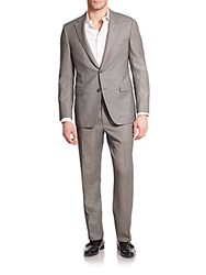 Saks Fifth Avenue Samuelsohn Striped Wool Suit Black White
