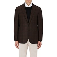 Sartorio Men's Plaid Wool Two Button Sportcoat Brown