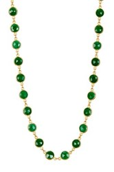 18K Yellow Gold Plated Sterling Silver Emerald Station Necklace Green