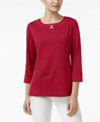 Karen Scott Three Quarter Sleeve Top Only At Macy's New Red Amore