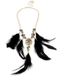 Betsey Johnson Gold Tone Cameo Crystal And Feather Statement Necklace Black