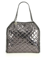 Stella Mccartney Falabella Metallic Quilted Faux Leather Fold Over Tote Ruthenium Redwood