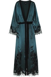 Carine Gilson Chantilly Lace Trimmed Silk Satin Robe Blue