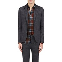 Lanvin Men's Tech Back Micro Checked Sportcoat Black Grey Dark Grey Black Grey Dark Grey