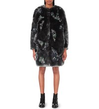 Koche Crystal Embellished Faux Fur Coat Gray
