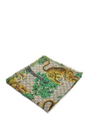 Gucci Bengal Tiger Jacquard Fringed Scarf Green