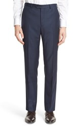 Armani Collezioni Men's 'G Line' Trim Fit Flat Front Solid Wool Trousers Navy