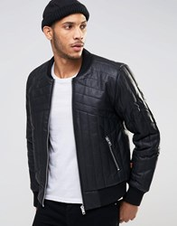 Bellfield Quilted Padded Pu Bomber Jacket Black