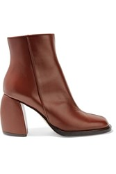 Tibi Rachel Leather Ankle Boots Brown