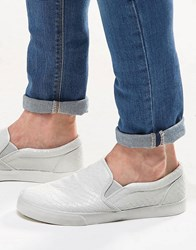 Asos Slip On Plimsolls With Snakeskin Effect White