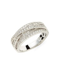 Crislu Platinum Over Sterling Silver Cubic Zirconia Crisscross Ring