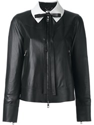 Desa 1972 Contrasting Collar Cropped Jacket Black