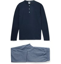 Nn.07 Nn07 Leepwell Tretch Cotton And Chambray Pyjama Et Blue