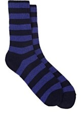 Barneys New York Men's Striped Stockinette Stitched Mid Calf Socks Navy Purple Navy Purple