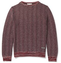 Gucci Textured Knit Cotton Sweater Red