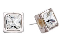Vince Camuto Lucid Dreams Crystal Stud Earrings Brushed Gold Light Grey Transparent Resin Crystal Earring Silver