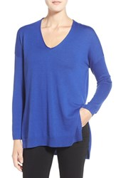 Trouve Women's Trouve V Neck Tunic Sweater Blue Clematis