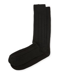 Neiman Marcus Cashmere Blend Ribbed Socks Black