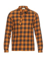 Gucci Neck Tie Checked Cotton And Wool Blend Shirt Orange Multi