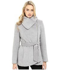 Jessica Simpson Brushed Wool Touch Coat W Asymmetrical Zip Heather Grey Women's Coat Gray