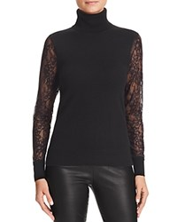 Bloomingdale's C By Lace Sleeve Turtleneck Cashmere Sweater Black