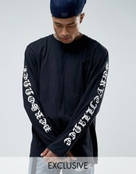 Reclaimed Vintage Oversized Long Sleeve T Shirt With Sleeve Prints Black