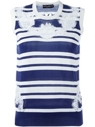 Dolce And Gabbana Lace Striped Tank Top Blue