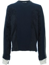 Andrea Pompilio Panelled Sleeve Sweater Blue