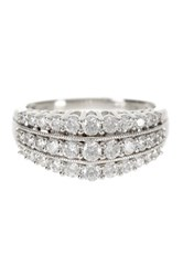 Elani Diamonds 10K White Gold Diamond Pyramid Band 1.00 Ctw Metallic