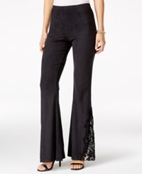 Material Girl Juniors' Lace Inset Flare Leg Pants Only At Macy's Black