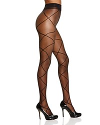 Pretty Polly Sheer Diamond Lace Up Illusion Tights Black