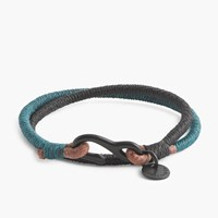 J.Crew Caputo And Co.Tm Two Tone Leather Nylon Bracelet Black Dark Teal