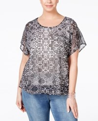 Styleandco. Style And Co. Plus Size Flutter Sleeve Printed Embellished Blouse Only At Macy's Ethnic Facade