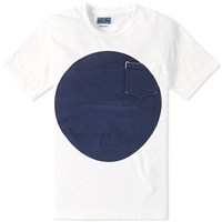 Blue Blue Japan Big Circle Slub Tee White