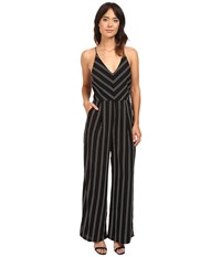 Adelyn Rae Striped Jumpsuit Black White Women's Jumpsuit And Rompers One Piece