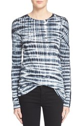Women's Proenza Schouler Long Sleeve Tissue Jersey Tee Black White