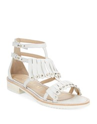 Aperlai Loula Leather Studded Fringe Sandals White