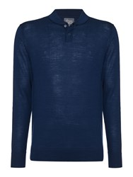 Linea 100 Merino Mini Shawl Neck Jumper Petrol Blue