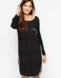 Paisie Shirt Dress With Contrast Edge Black