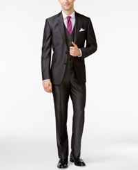 Kenneth Cole Reaction Charcoal Sharkskin Stripe Vested Slim Fit Suit
