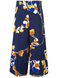 Erika Cavallini Semi Couture Wide Leg Cropped Printed Trousers