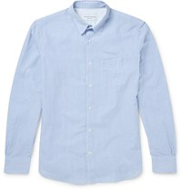Officine Generale Slim Fit Penny Collar Striped Cotton Seersucker Shirt Blue